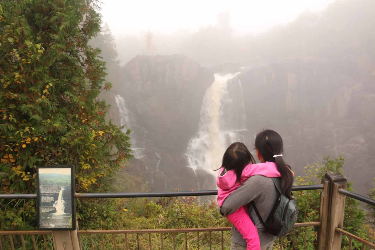 Julie and Tahia checking out a different look at the High Falls from a viewing deck closer to the falls itself