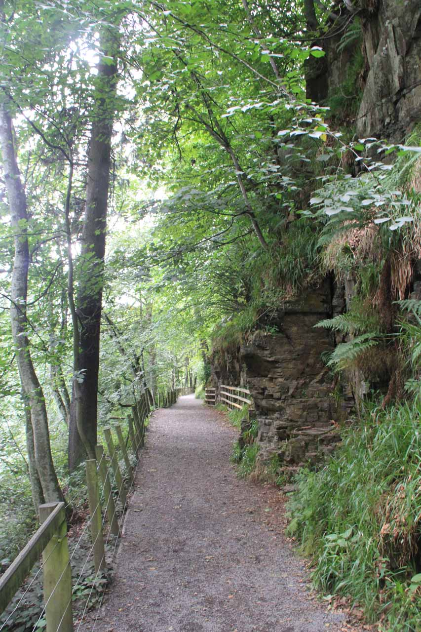 As we got deeper into the gorge, the trail now passed before tall cliffs like this