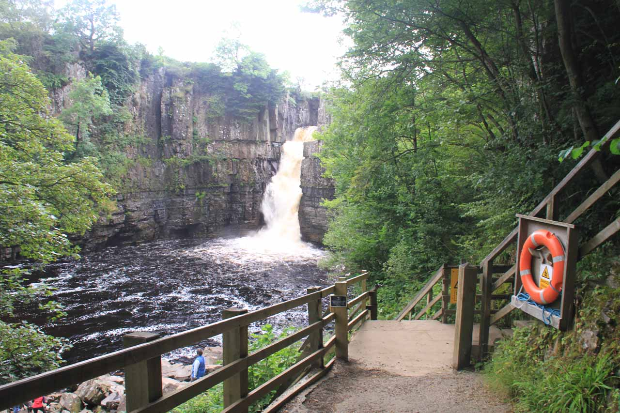 Right before the stairs leading down towards the plunge pool of High Force