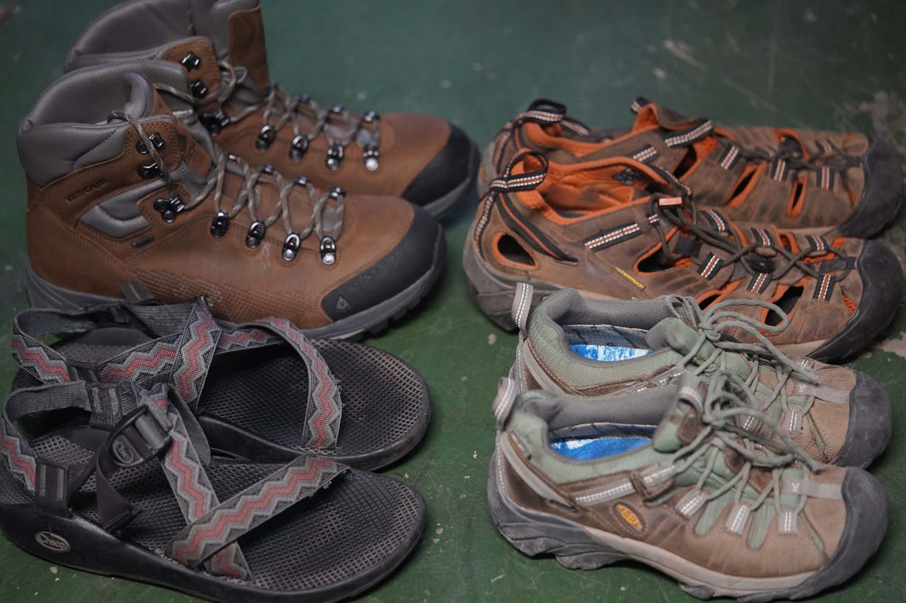 Waterfall hikes typically involve hiking in water. So the choice of footwear from waterproof hiking boots to water shoes or sandals are important considerations on our hikes