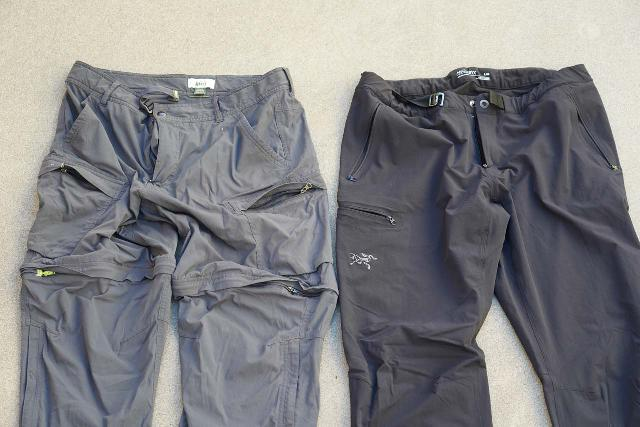 Hiking pants usually have lots of pockets (including those secured by zippers so things don't fall out). The two shown here are my favorites that I own because they had the most zippered pockets