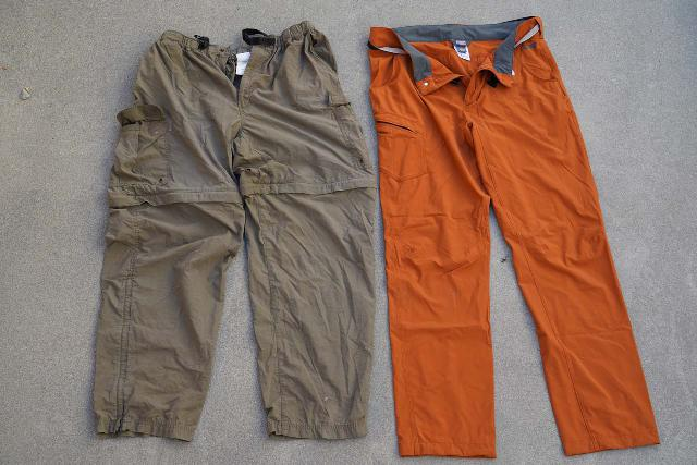 Over the years, I've seen our hiking pants start off as baggy (left), but they've gradually become more form fitting (right)