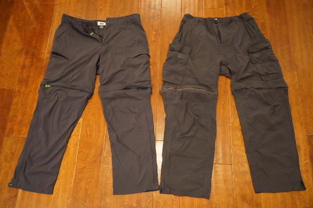 My favorite REI Co-op Sahara Hiking Pants is on the left while the newer one (which I'm not as keen on) is on the right