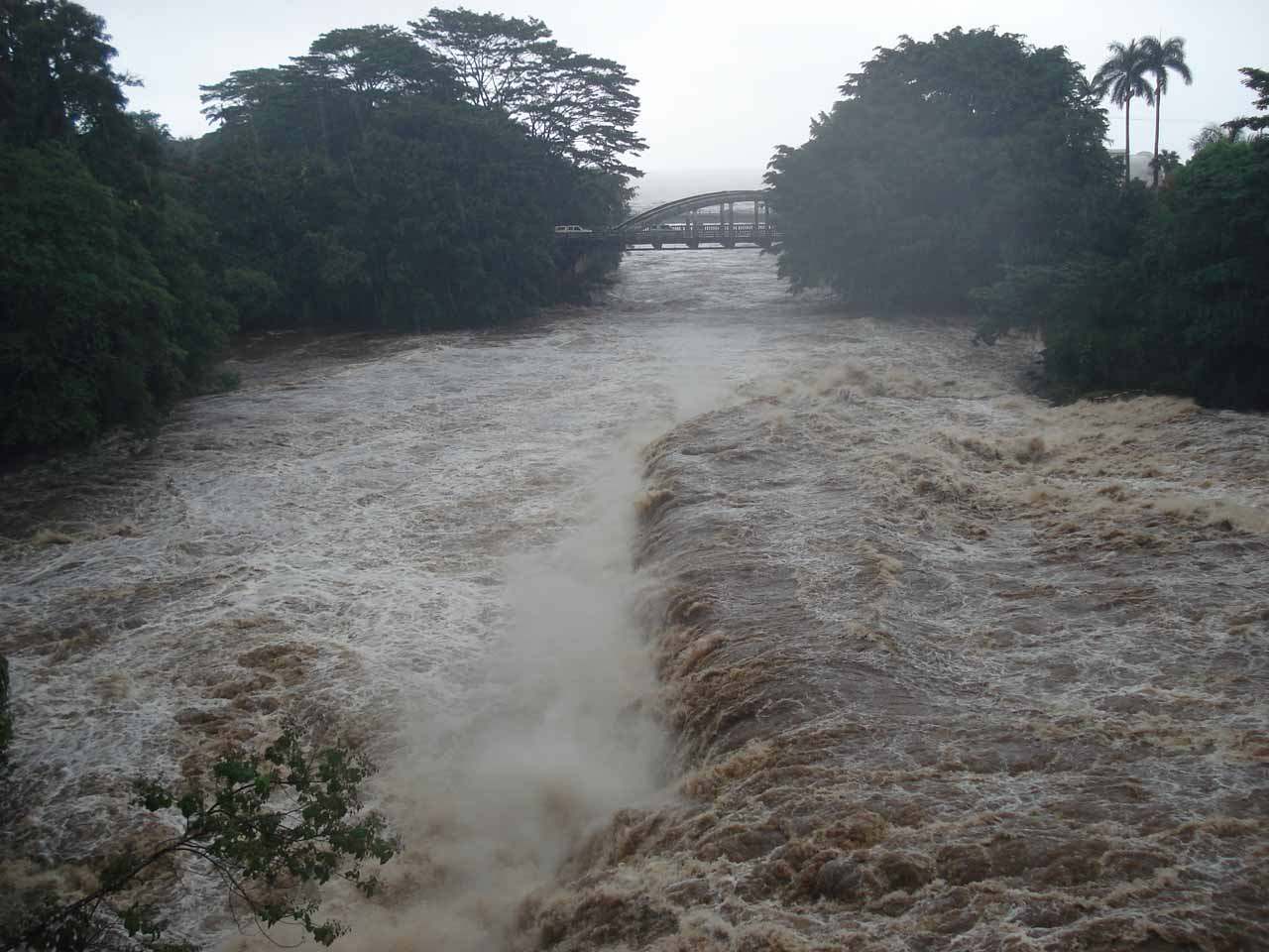 Further downstream of Rainbow Falls in Hilo, flooding was severe anywhere near the Wailuku River or any other drainage