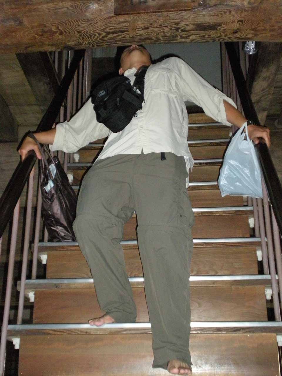 Me doing the limbo while descending some stairs in Himeiji-jo