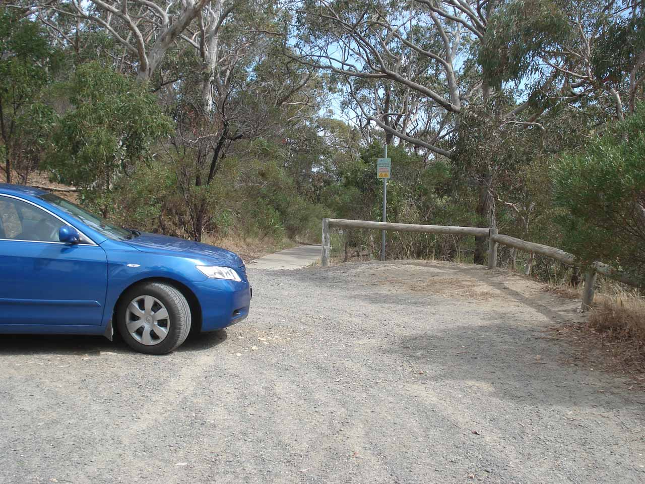 The unsealed car park at Hindmarsh Falls