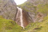 Hintertux_338_07182018 - Zoomed in look at the Schleierfall during my final ascent to the base of the waterfall with some people standing near it for a sense of scale