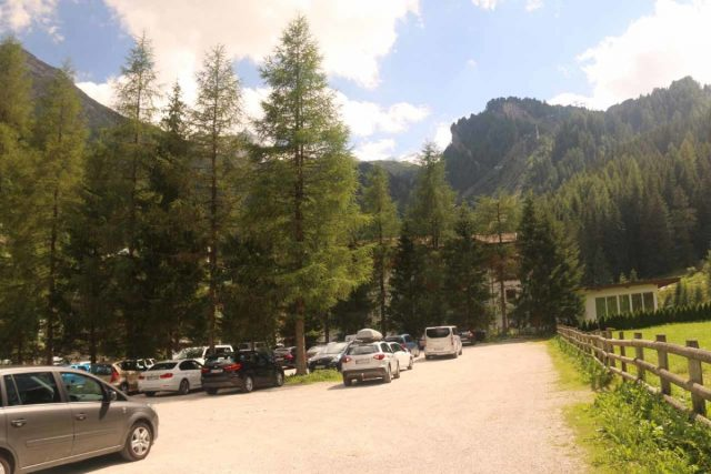 Hintertux_406_07182018 - The busy car park at the Hintertux Resort Area, which sat at the very end of the road through Tuxertail