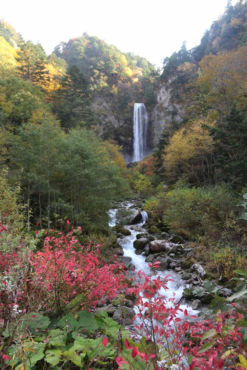 Colorful look upstream at the Hirayu Waterfall