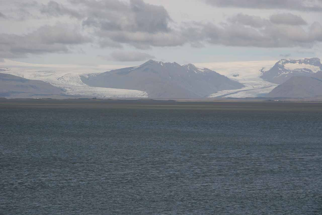 Looking across a large bay towards a pair of glaciers in the distance from Höfn, where we made a brief stop to break up the long drive