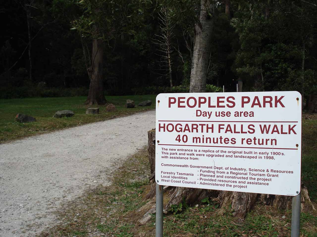 Sign at the start of the Peoples Park