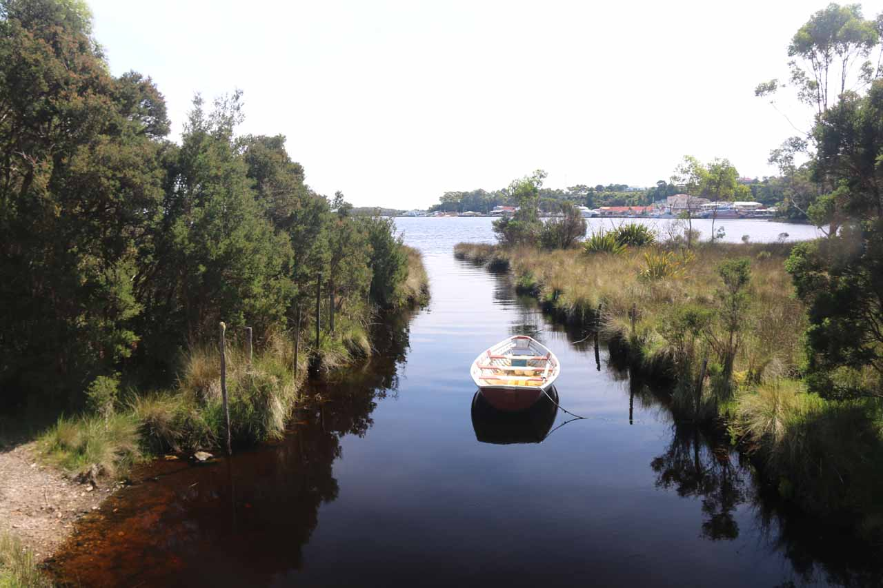 Outside of the Peoples Park Entrance, the attractive Strahan Foreshore provided a relaxing footpath taking in this outlet of Botanical Creek as well as a very calm part of Macquarie Harbour