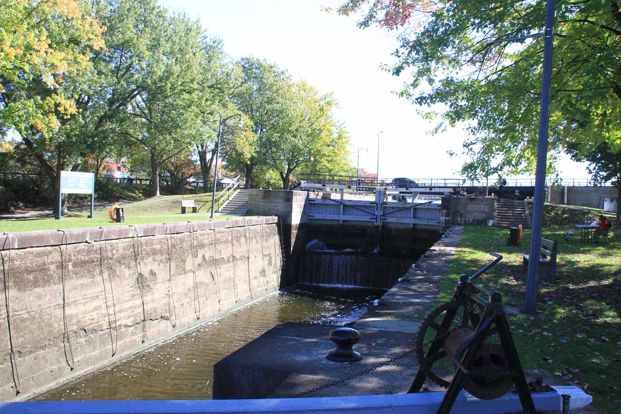 Looking directly at the lock on the Rideau Canal