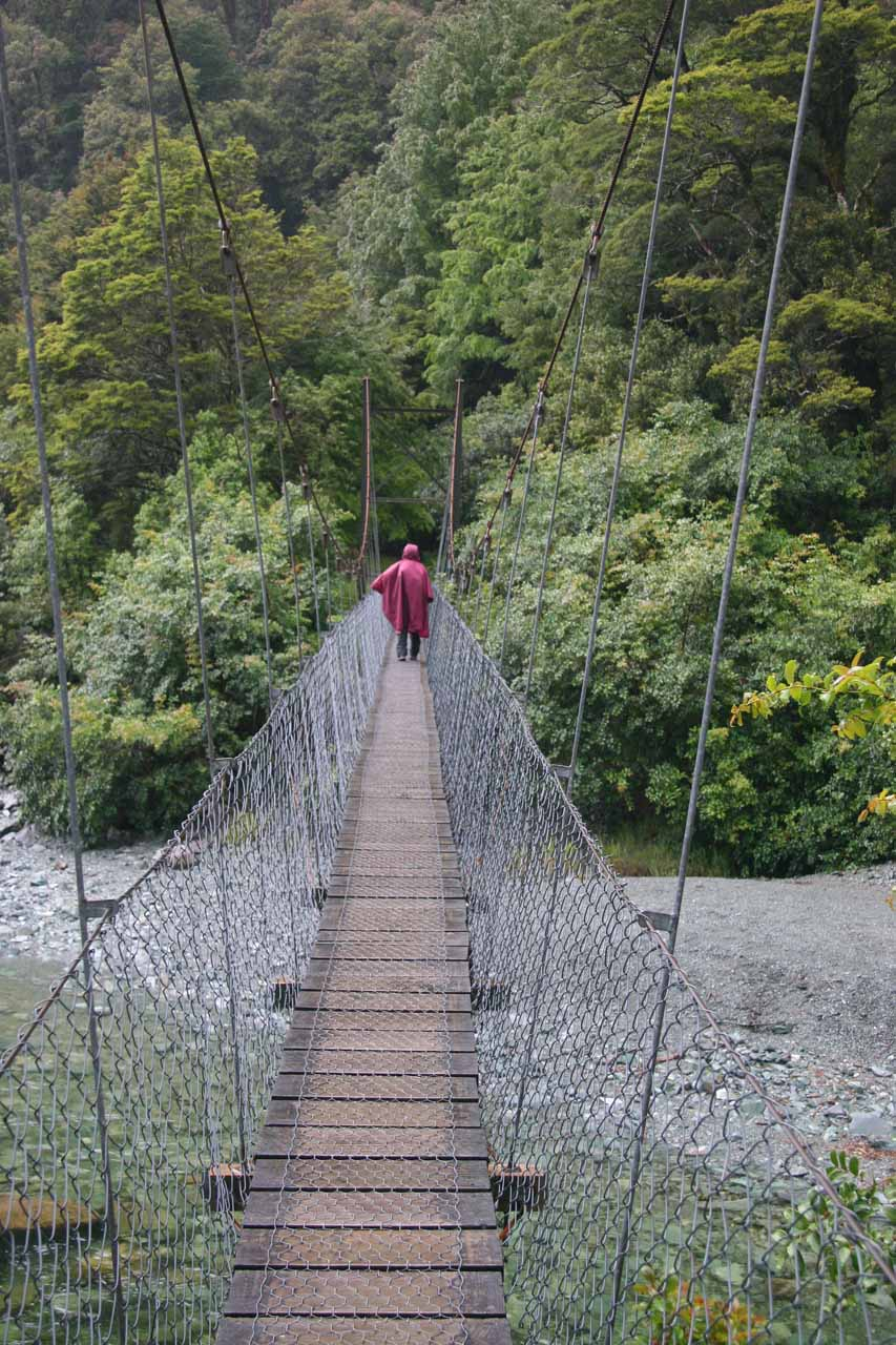 Swinging bridge at the start of the Hollyford Track