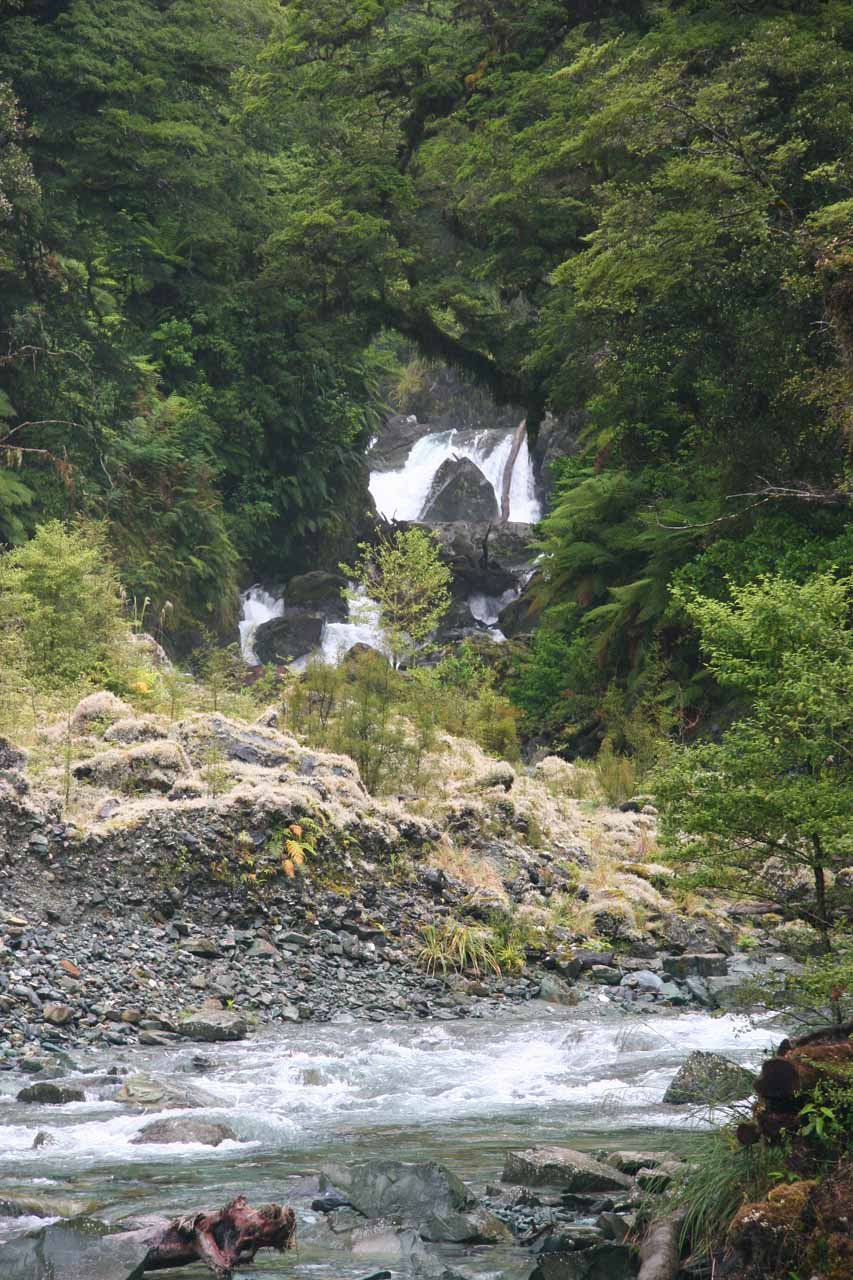 Looking upstream along a tributary towards one of the hidden waterfalls to be found along the Hollyford Track