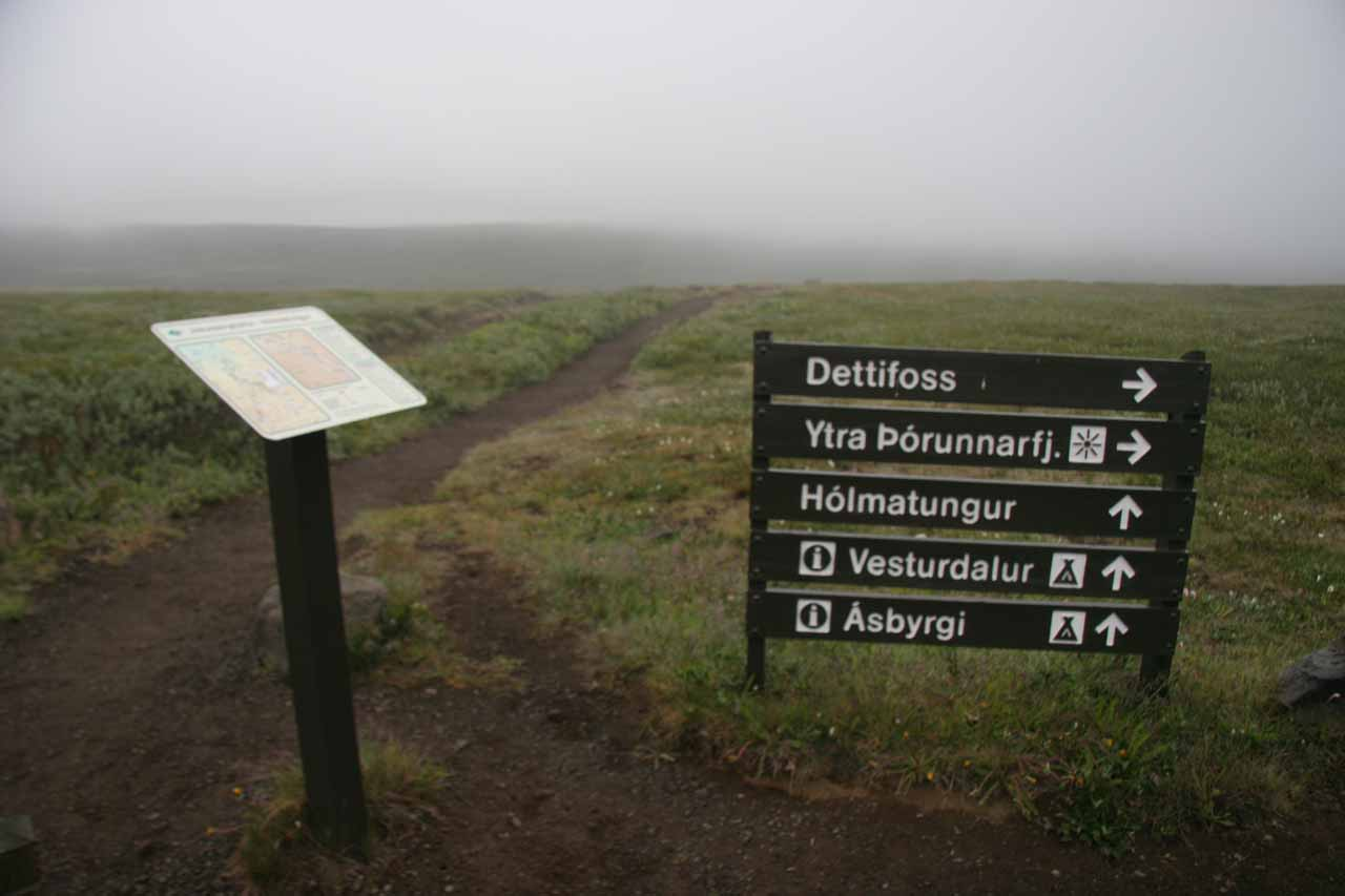Sign at the car park.  Go straight to access Katlar and Urriðafossar.  Go right to get a view of Réttarfoss