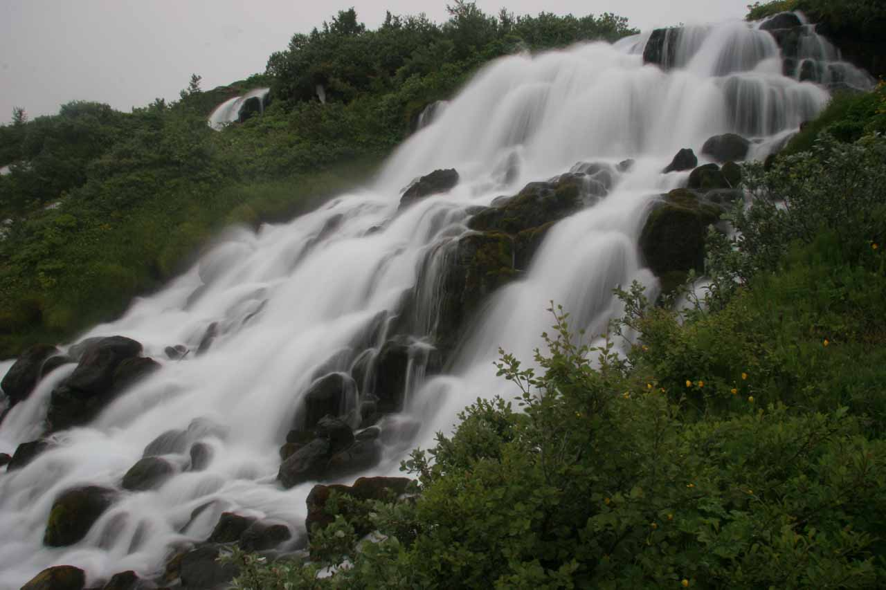 Closer look at the falls from the other side of the stream