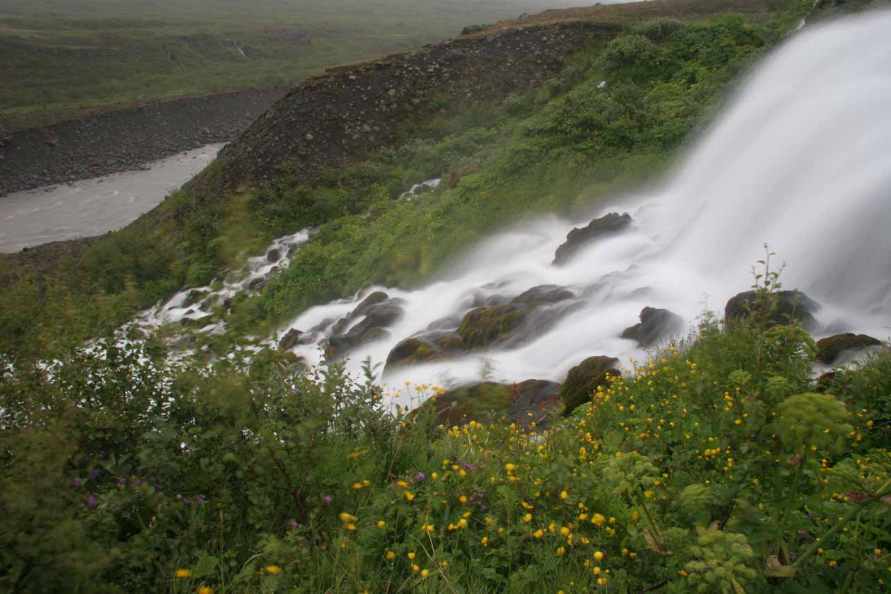 View of another tributary waterfall while hiking Hólmatungur