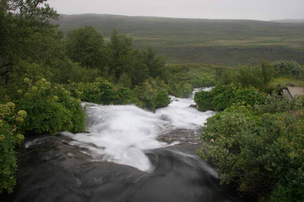 Looking down over the top of the cascade from the bridge
