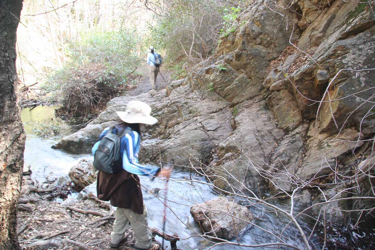 Nontrivial stream crossing on the way back out