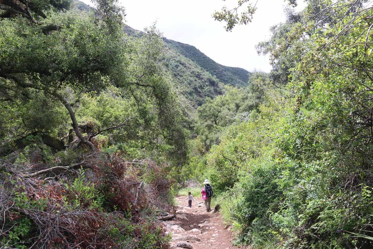 Julie and Tahia on the mostly downhill return hike