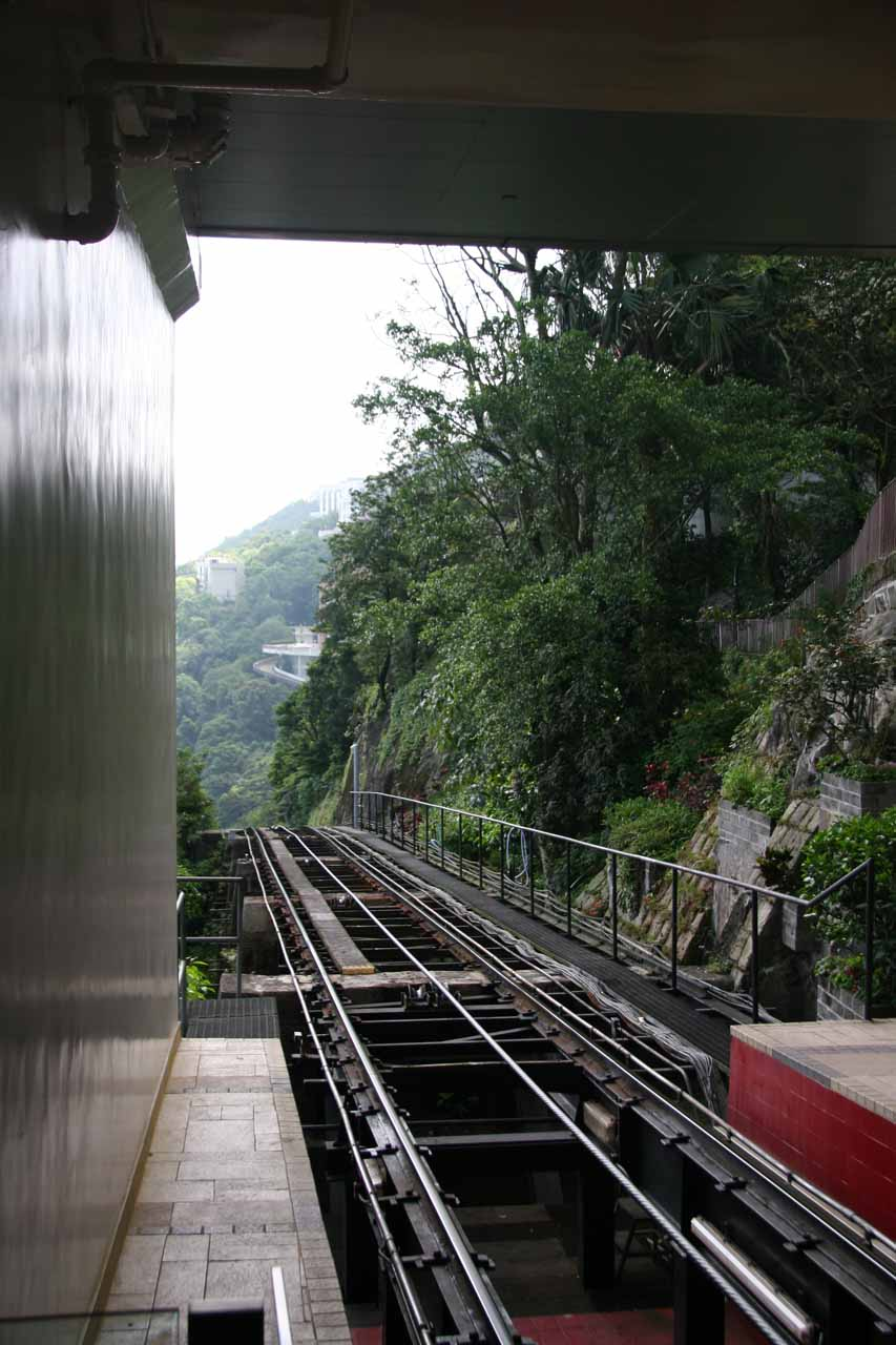 The ascending funicular to Victoria Peak