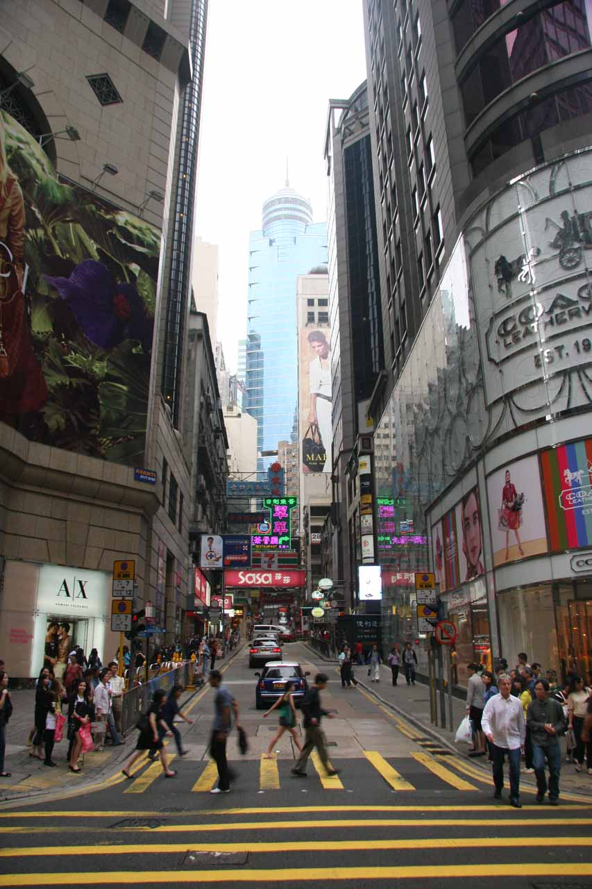 Busy scene in downtown Hong Kong