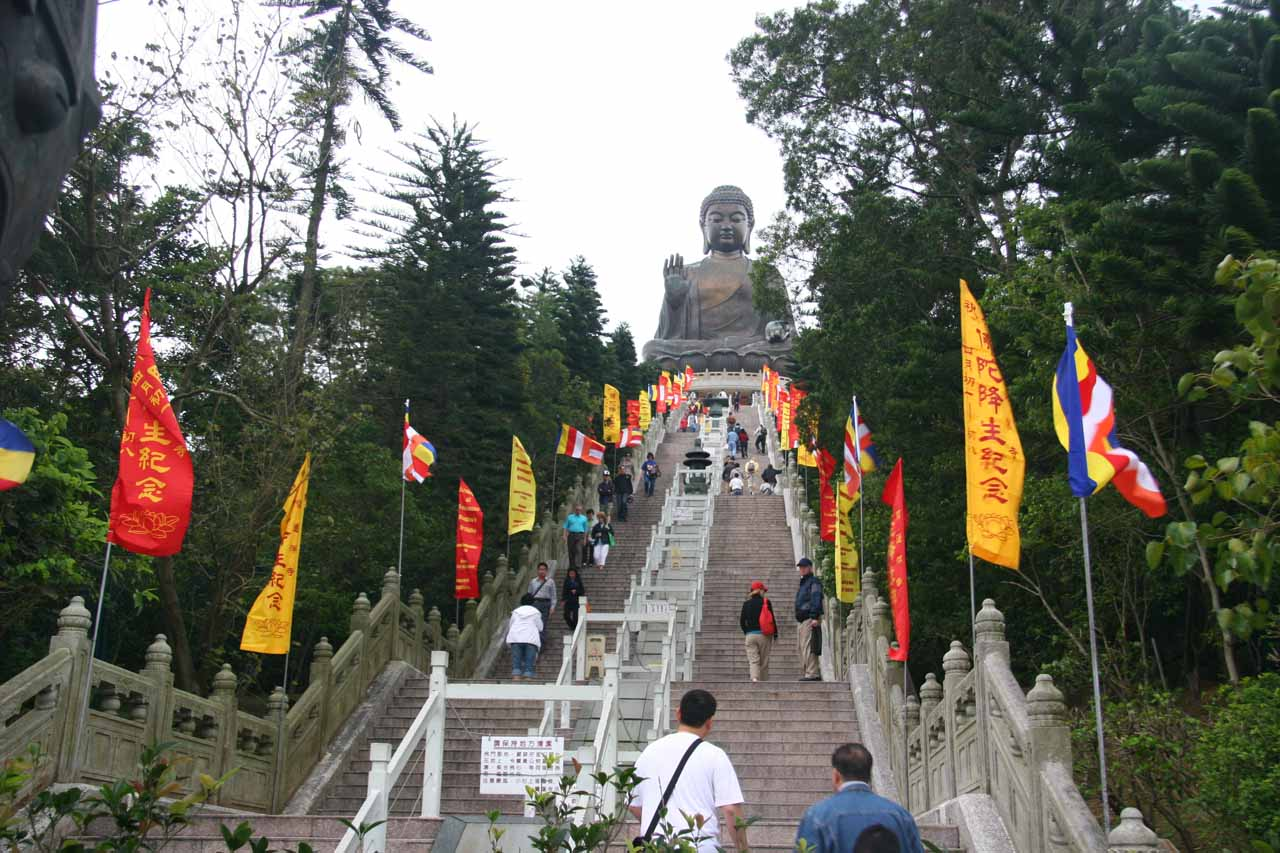 Going up the stairs leading to the Buddha