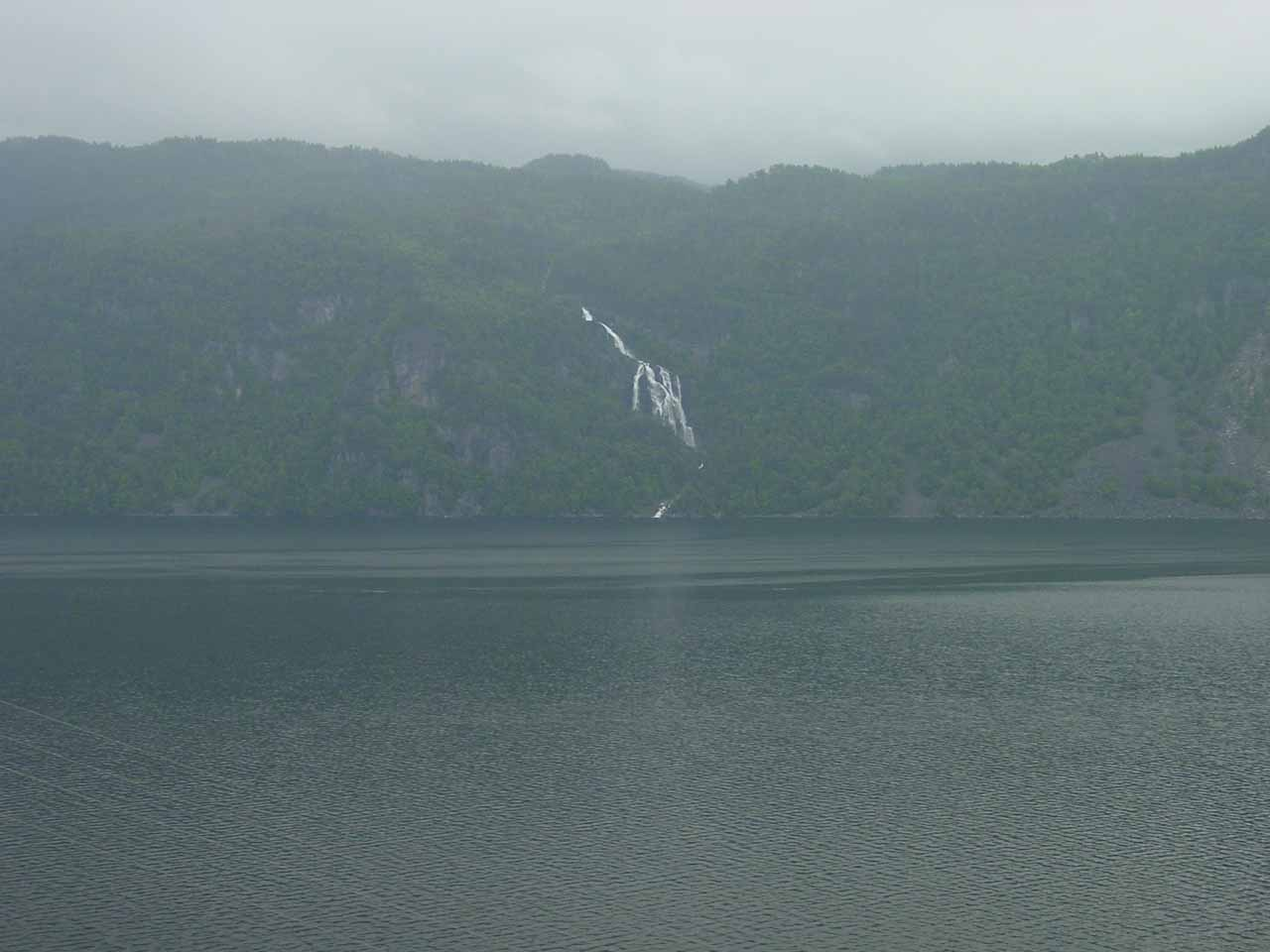 When we looked across Saudafjorden, this was the impressively large waterfall we saw, which I think is called Maldalsfossen