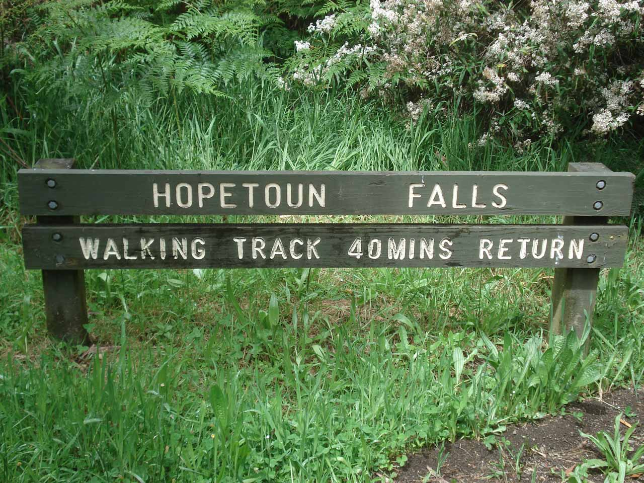 Sign telling us how much time we can expect to put in to see Hopetoun Falls