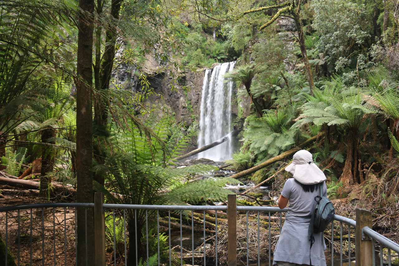 Julie at the end of the track checking out Hopetoun Falls
