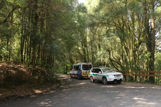 Hopetoun_Falls_17_051_11172017 - Emergency vehicles at the trailhead for Hopetoun Falls to tend to the lady who broke her ankle on the trail during our November 2017 visit