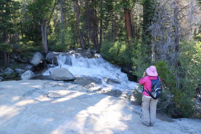 Horsetail_Falls_022_06222016 - Mom checking out an attractive cascade on Pyramid Creek early on in our pursuit of Horsetail Falls
