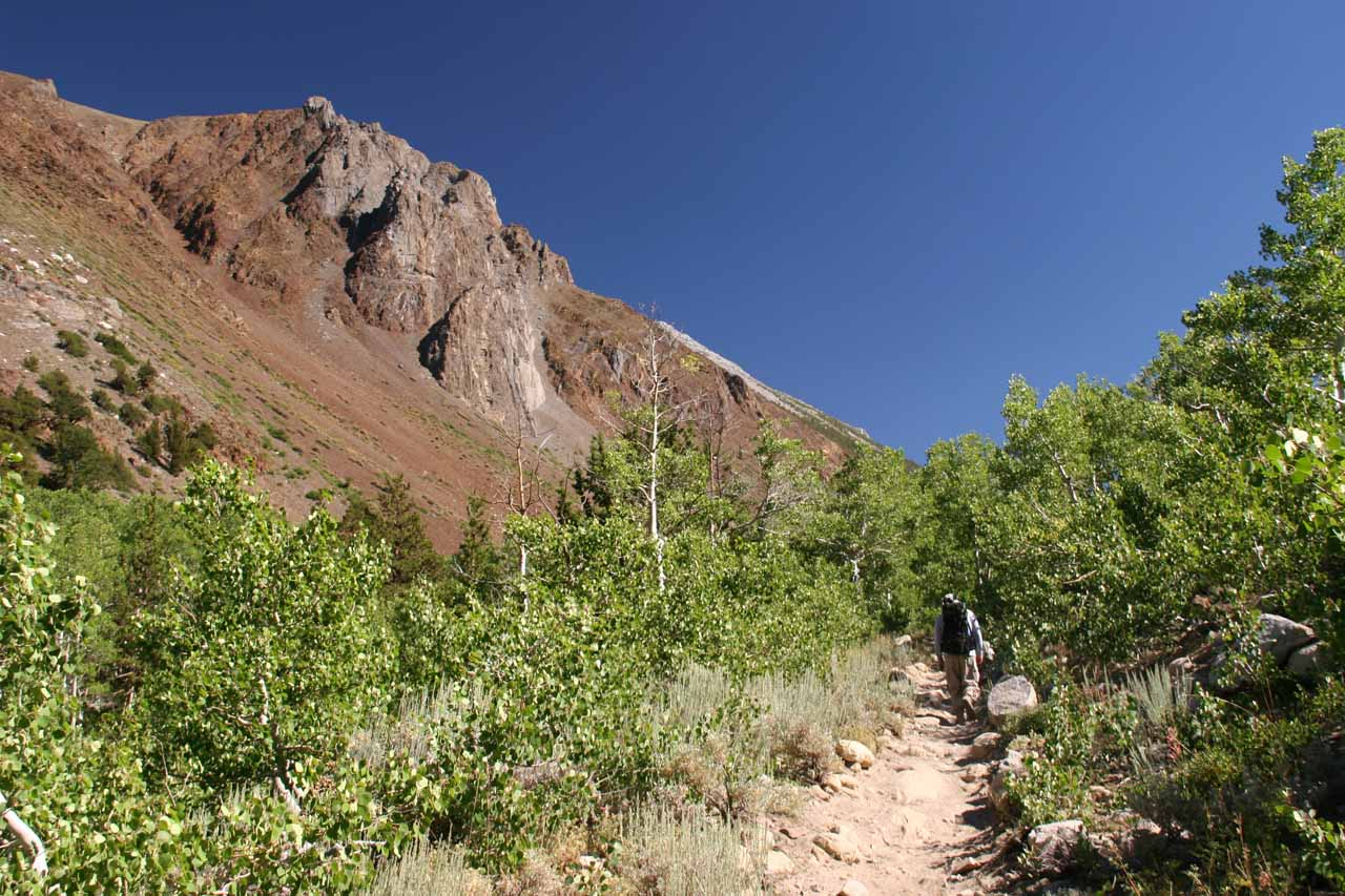 Much of the McGee Creek Trail was flanked by mountains with colorful slopes
