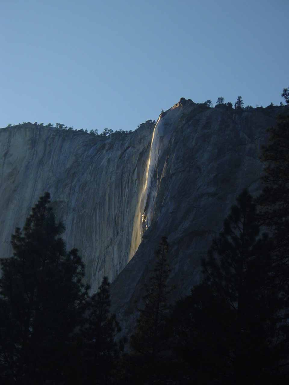 Horsetail Falls when the sun was still too high on the horizon