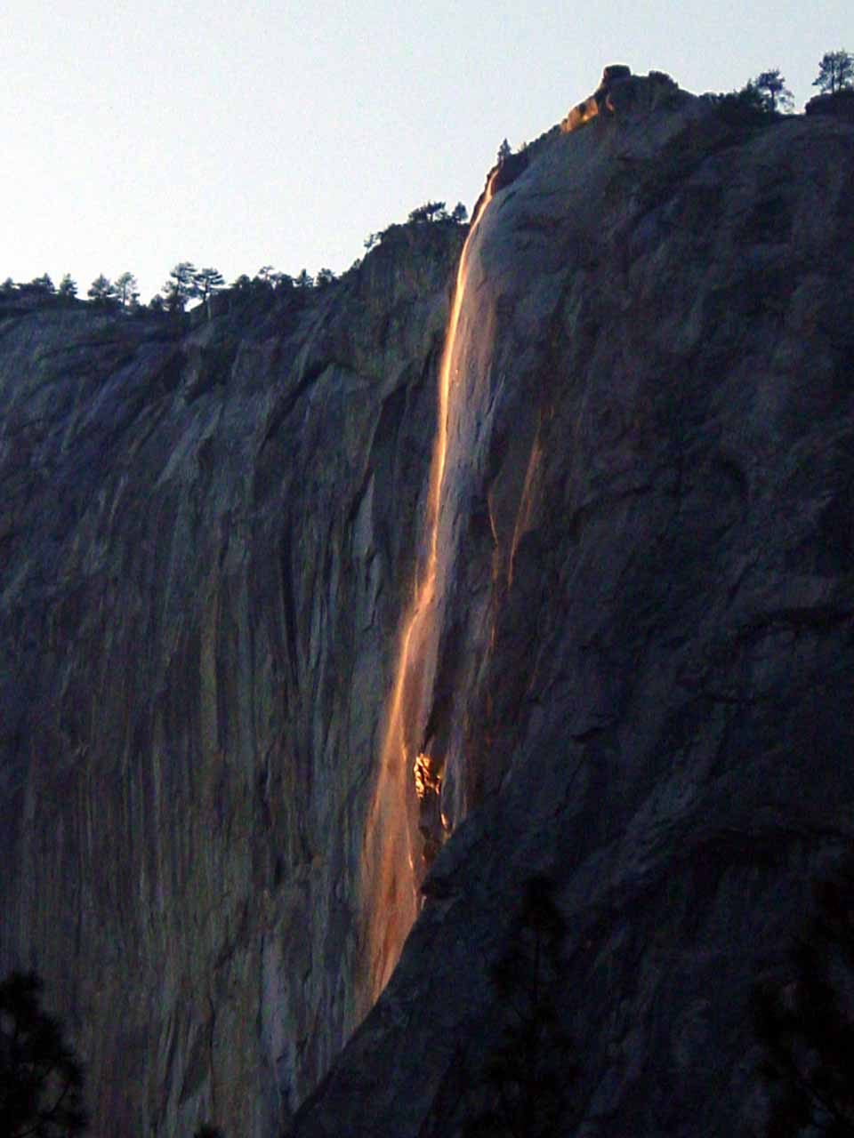 Horsetail Falls from the Northside Drive as seen on our February 24, 2006 attempt