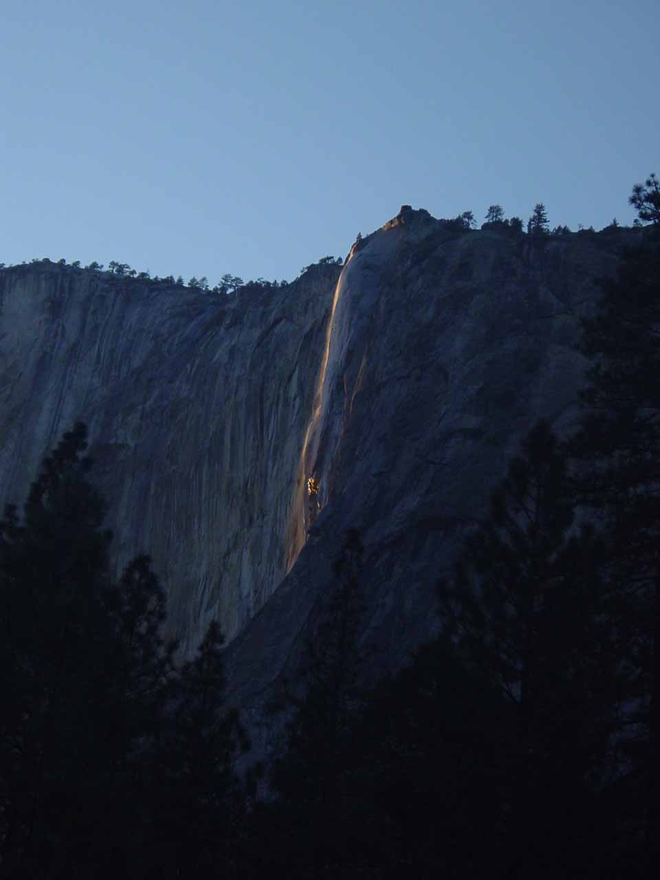 Contextual view of Horsetail Falls just as we were about to hit the magical time of day