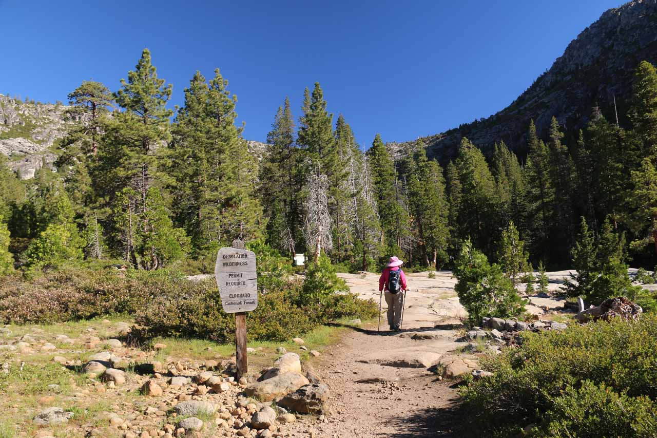 This Desolation Wilderness sign was definitely a welcome sight as we knew we were on the right path for Horsetail Falls
