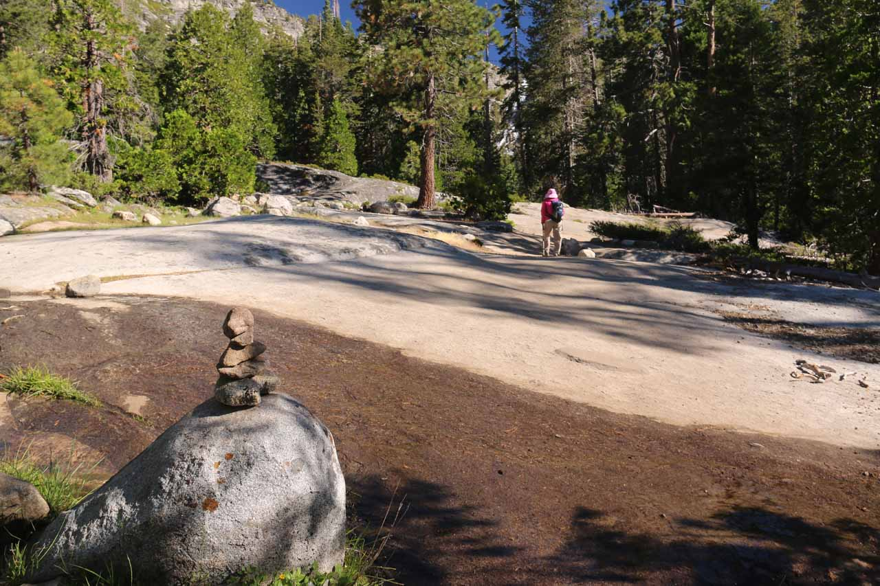 Some more rock cairns were put in place to lead us past hard-to-follow granite sections like this one