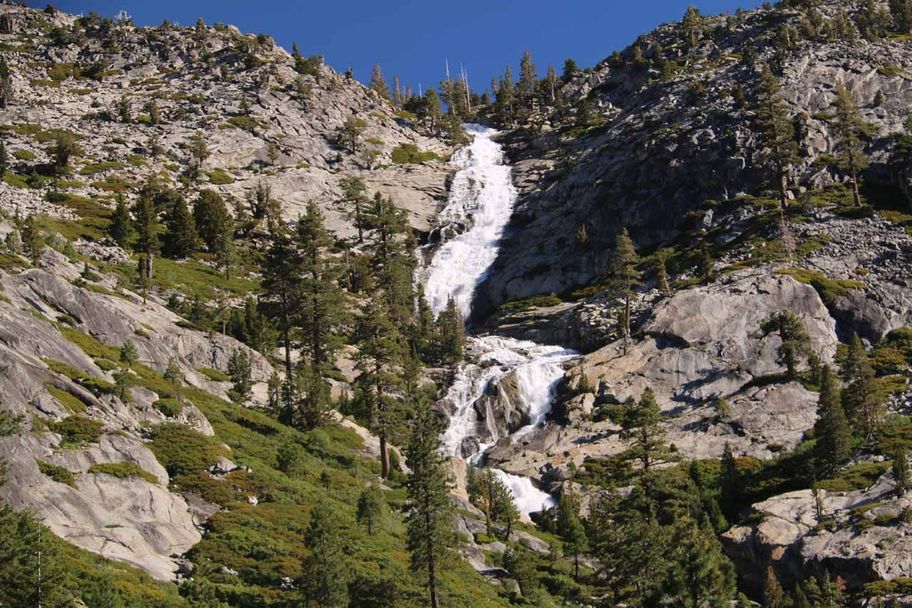 This was the view of Horsetail Falls after making it up to those trees during the off-trail scramble