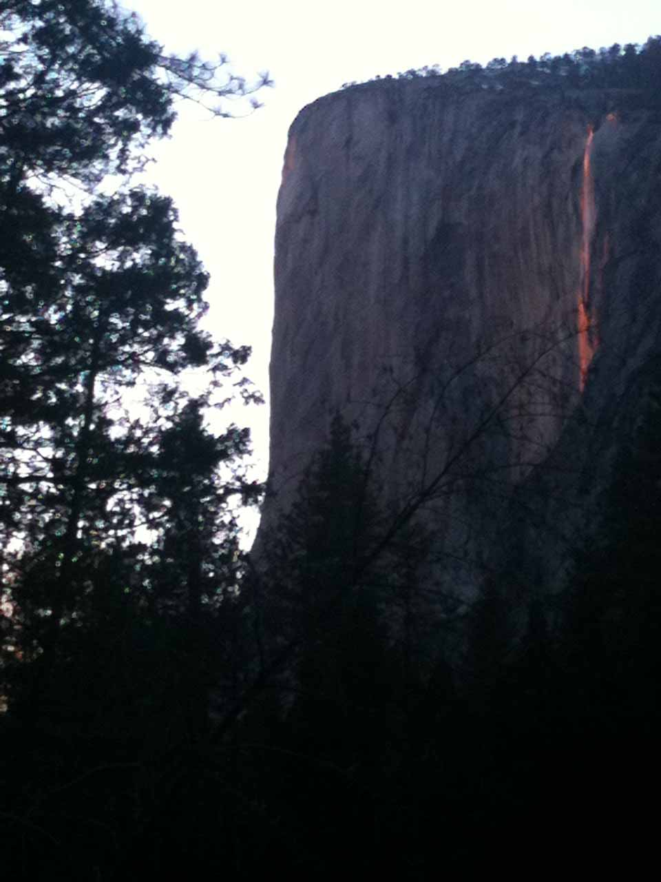 Horsetail Falls from the Southside Drive just before the sun had set for the day