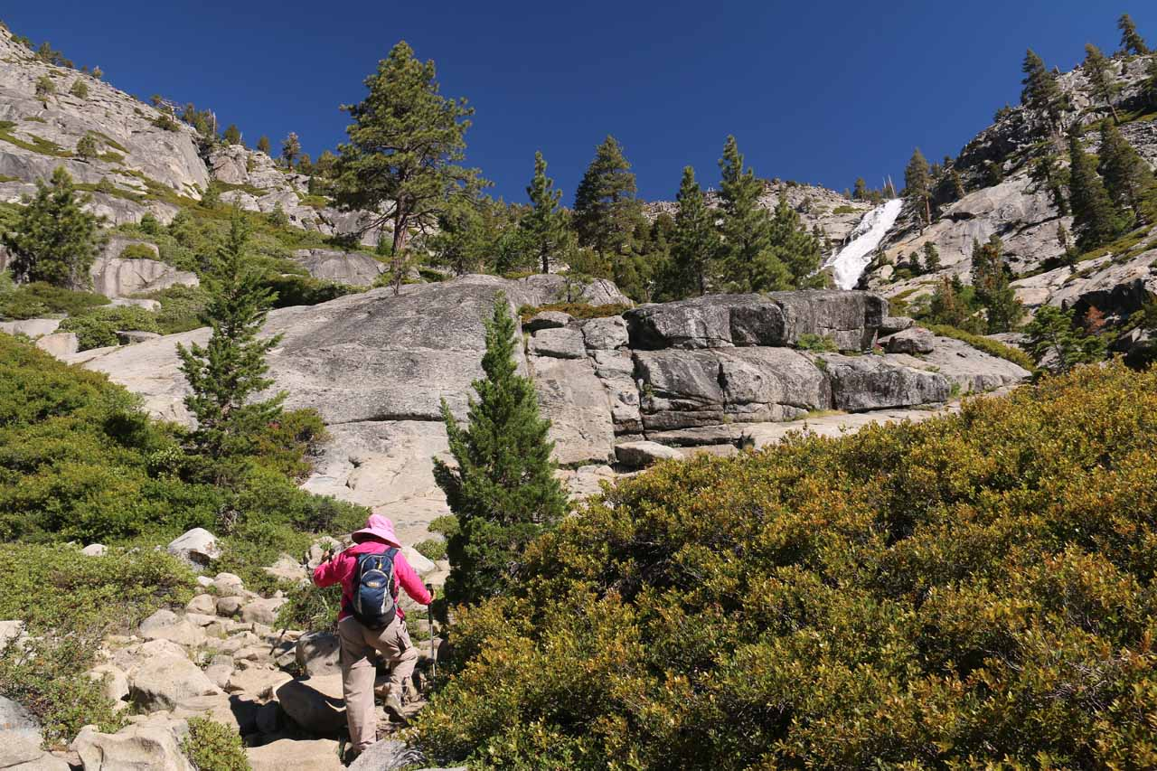 It didn't take long before we found ourselves climbing on the granite once again as the trail started to become ill-defined again