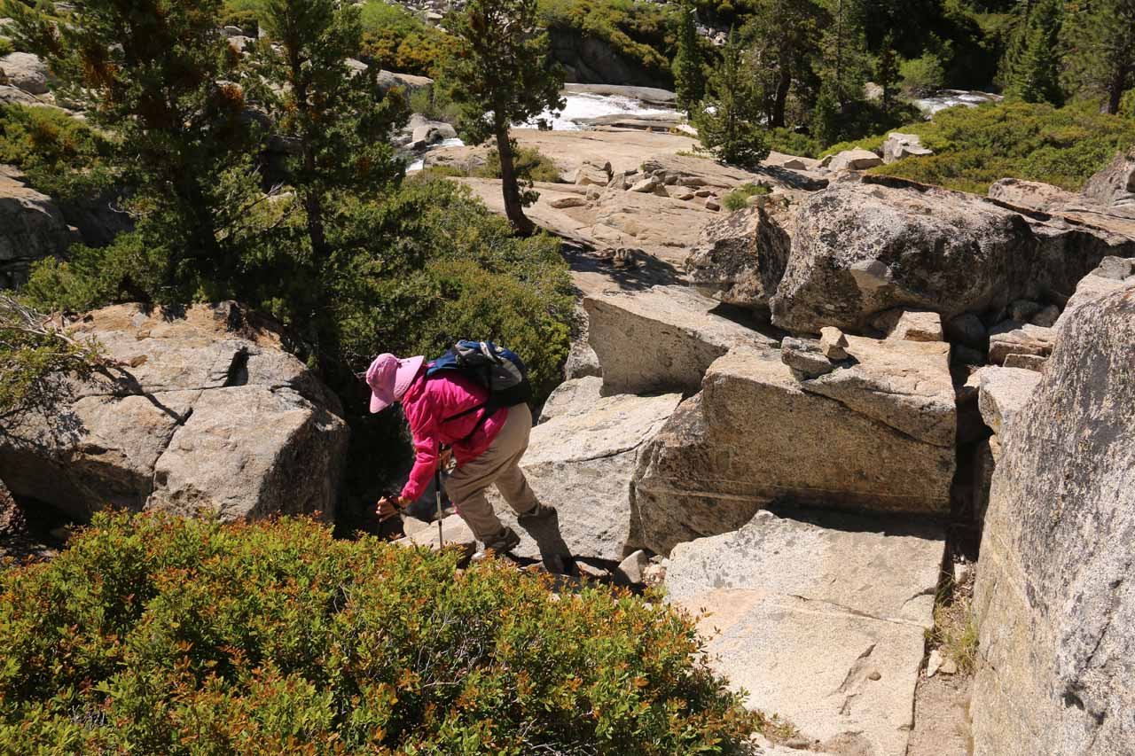 This shot of Mom finding a way down from the granite illustrated the fairly ill-defined nature of the trail near Horsetail Falls