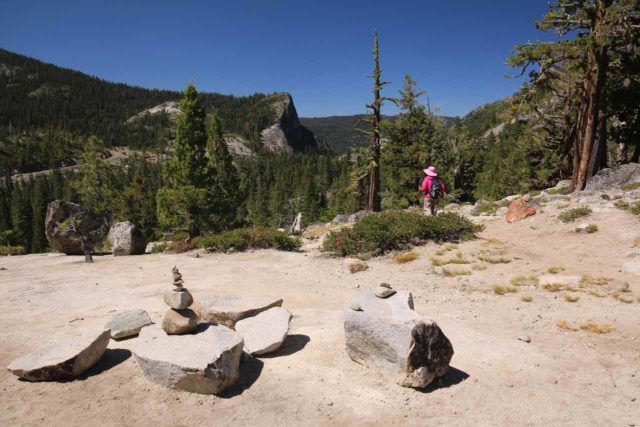Horsetail_Falls_268_06222016 - Mom scrambling back from Horsetail Falls with the Lover's Leap formation in the distance. I swore we somehow missed most of these cairns on the way to Horsetail Falls but found them on the way back!