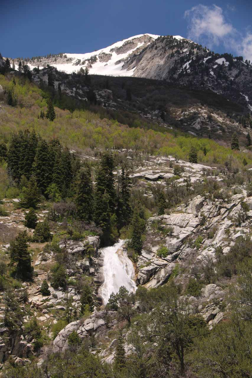That unsigned spur trail led to an overlook providing my first glimpse of Horsetail Falls