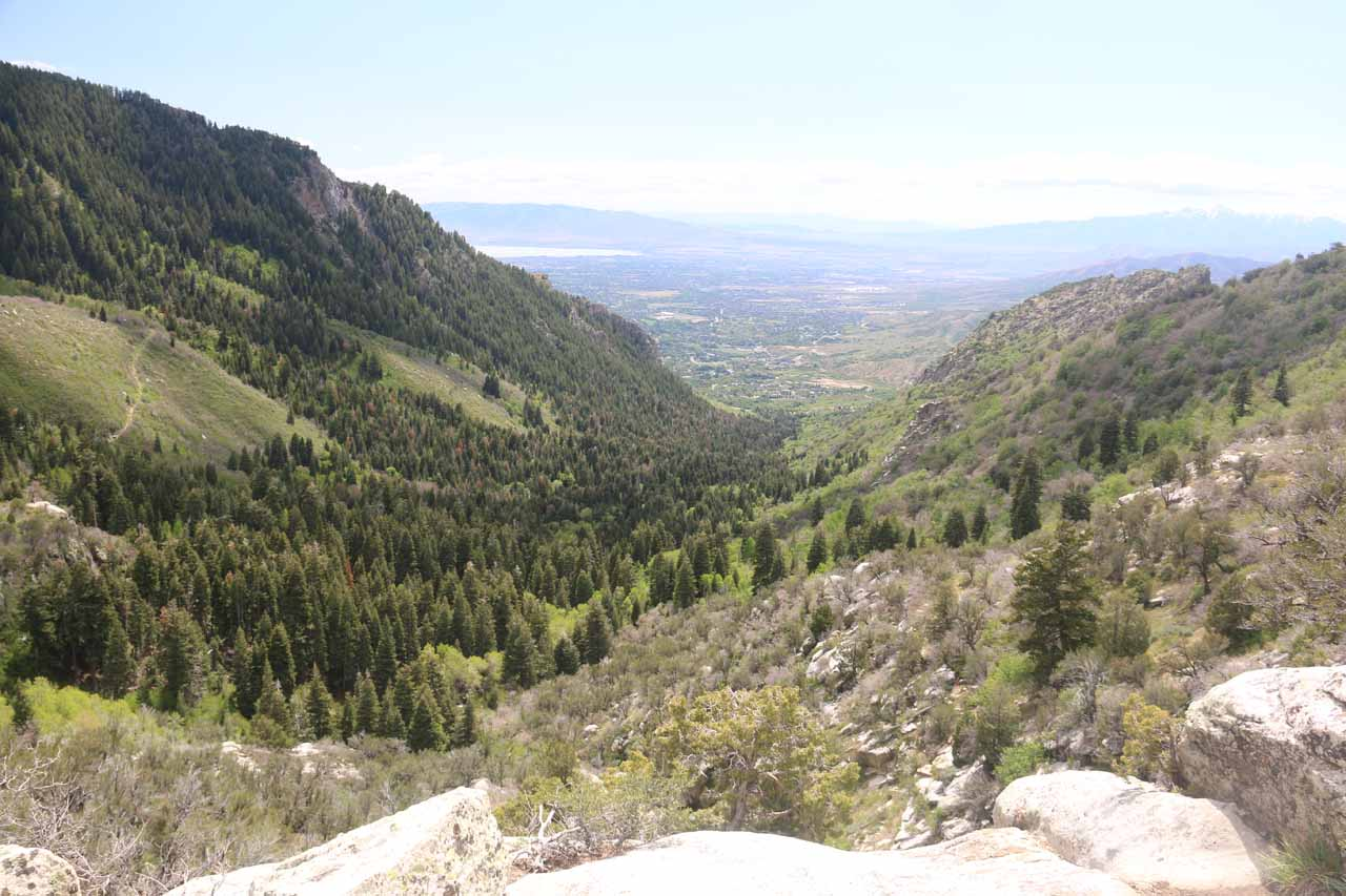 This was the kind of grand view towards both Alpine and Utah Lake that I was able to enjoy from around the top of Horsetail Falls