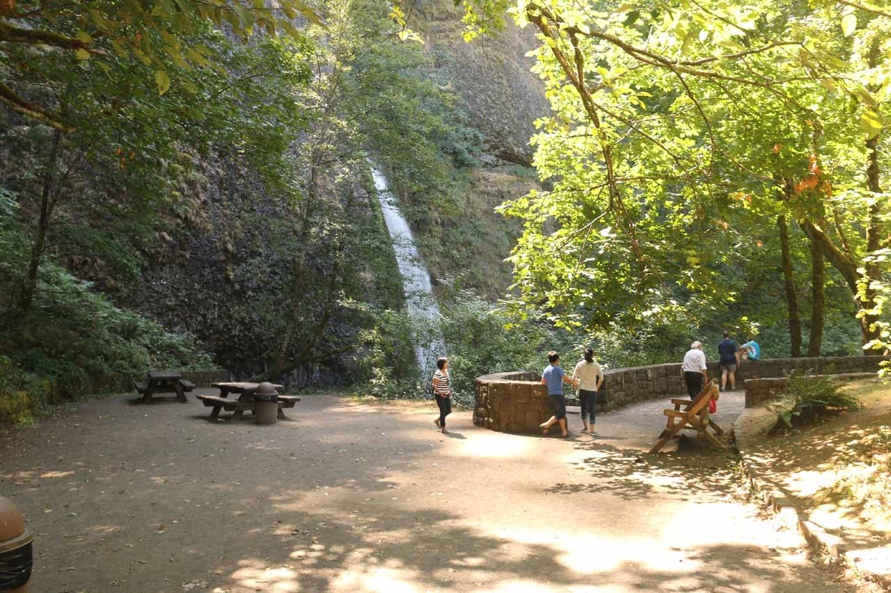 Looking towards the picnic area off to the side of the Horsetail Falls