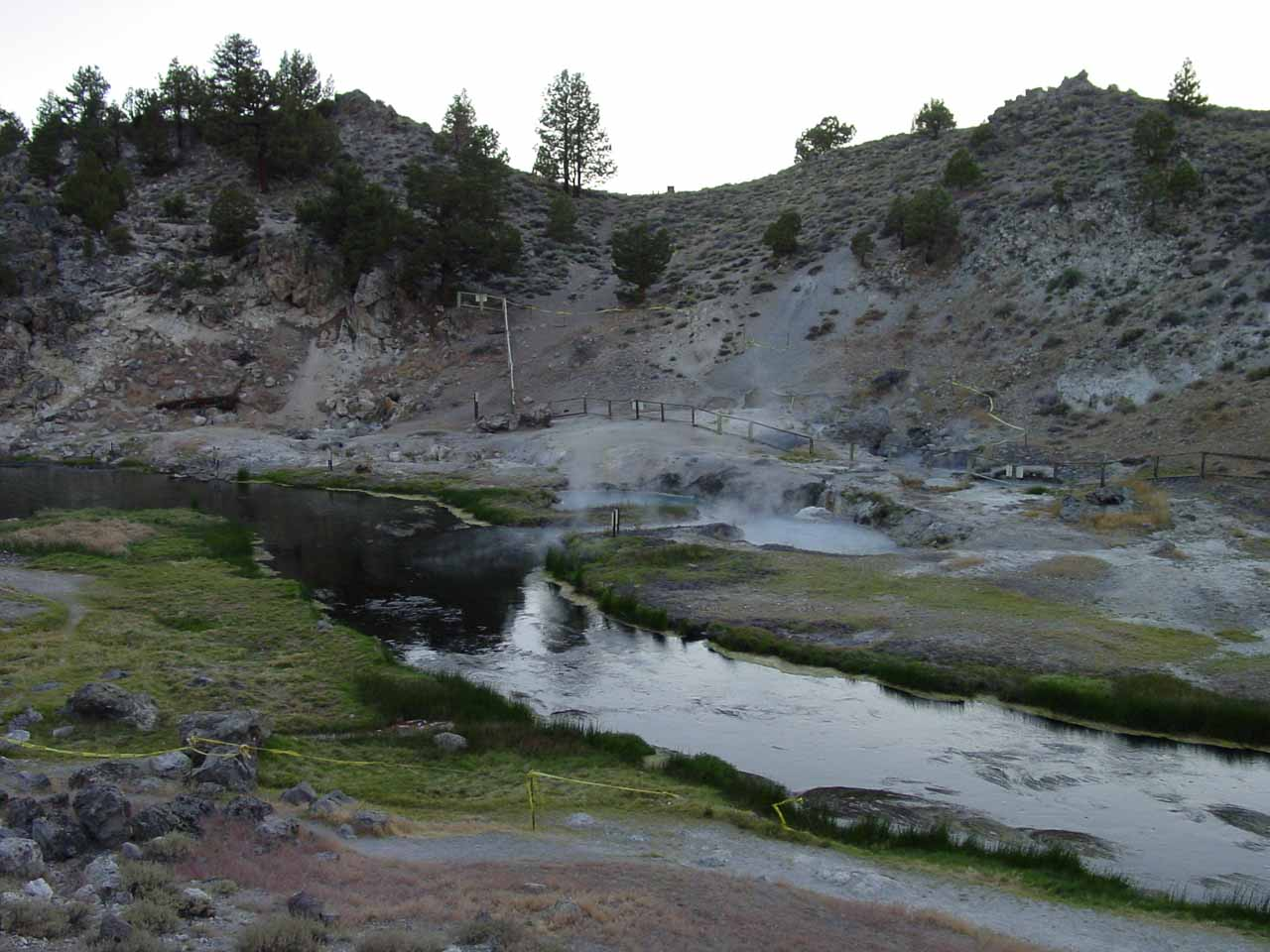 Twin Falls is very close to the Mammoth Lakes Resort Community, but back on the Hwy 395, in just a few minutes drive from the Mammoth turnoff is Hot Creek, which was once a good place for a warm soak