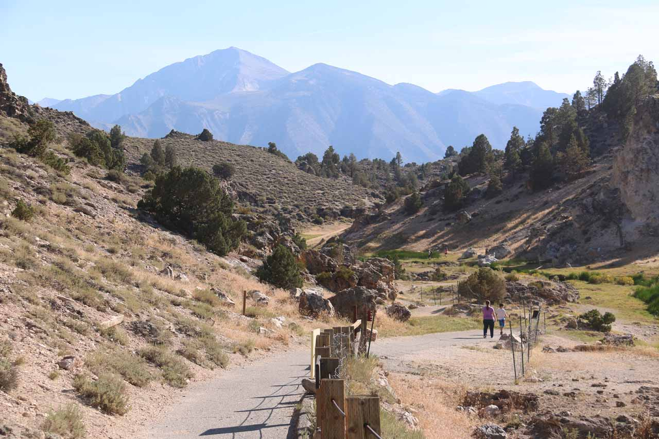 Looking further along the paved walkway beyond the Hot Creek (former) access area