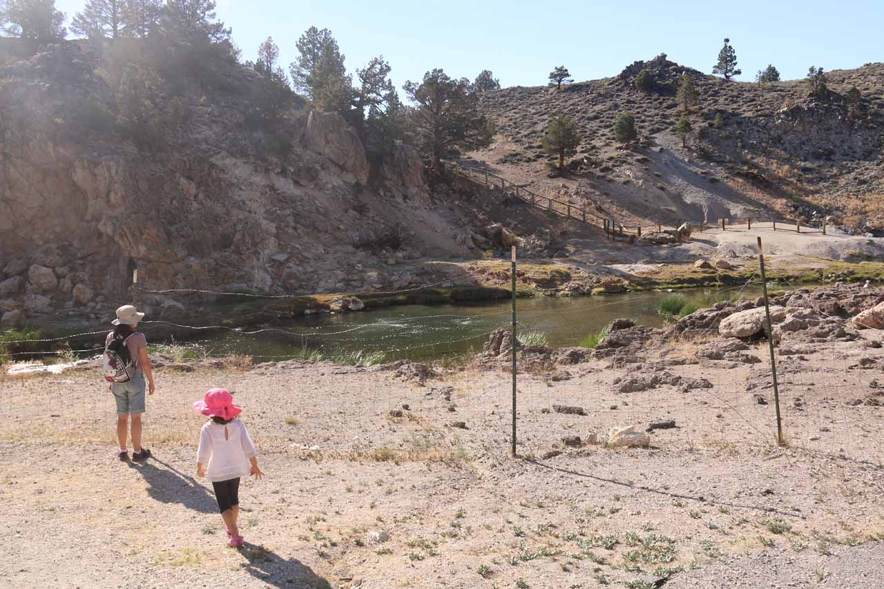 Julie and Tahia examining the barricades that didn't used to be there when we last visited Hot Creek over 12 years ago